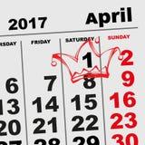1 recordatorio de April Fools Day Calendar Imágenes de archivo libres de regalías