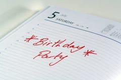 Recordatorio de la fiesta de cumpleaños Imagenes de archivo