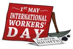 Recordatorio de las derechas de trabajo en el día de los trabajadores, ejemplo del vector Imagenes de archivo