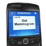 Recordatorio de Smartphone, mamograma Imágenes de archivo libres de regalías