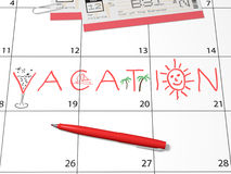 Recordatorio del calendario de las vacaciones Fotos de archivo libres de regalías