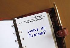 Recordatorio del referéndum de la UE en un organizador Imagen de archivo libre de regalías