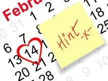 Recordatorio e indirecta del día de tarjeta del día de San Valentín Fotografía de archivo libre de regalías
