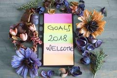 Recordatorios en objetivos del papel coloreado 2018 cosas a hacer Foto de archivo