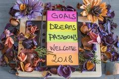 Recordatorios en objetivos del papel coloreado 2018 cosas a hacer Imagen de archivo