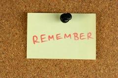 Recorde a nota de post-it Fotografia de Stock Royalty Free