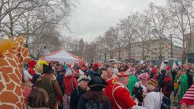 Cologne/Germany - March 2019: Cologne during cologne street carnival. Recorded in Cologne, Germany in March 2019 with a GoPro Hero 7 stock footage