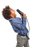 Recorded the song. Talented child records the song in the recording studio Royalty Free Stock Image
