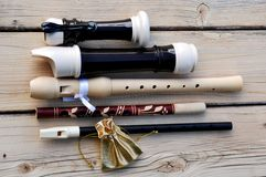 Recorder , belarussian flute, sweet Flute and golden bag Royalty Free Stock Photo