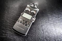 Recorder digital audio hi fi. Recorder digital on a shining black slate stock photos