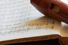 Recorder, Flöte, barock Stockfoto