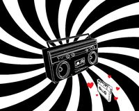Recorder in love with casette. In black and white Royalty Free Stock Image