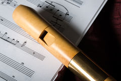 Recorder and music notes Royalty Free Stock Photos