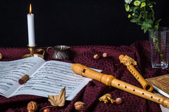 Recorder and music notes Stock Photography