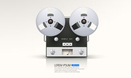 Recorder. Vintage analog recorder reel to reel on white background Royalty Free Stock Images