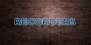 RECORDERS - fluorescent Neon tube Sign on brickwork - Front view - 3D rendered royalty free stock picture. Can be used for online banner ads and direct mailers Royalty Free Stock Photography