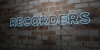 RECORDERS - Glowing Neon Sign on stonework wall - 3D rendered royalty free stock illustration. Can be used for online banner ads and direct mailers Royalty Free Stock Photography