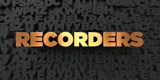 Recorders - Gold text on black background - 3D rendered royalty free stock picture. This image can be used for an online website banner ad or a print postcard Stock Photography