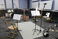 Recording. Various musical instruments in a recording studio Royalty Free Stock Image