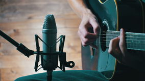 Recording Acoustic Guitar In The Studio stock video