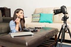 Recording a beauty video blog Stock Photo