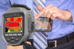 Recording Businessman With Thermal Camera Stock Images