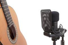 Recording classical guitar stock photography