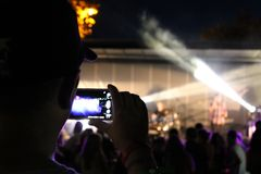 Recording a concert stock photos