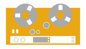 Recording Deck. Simple old school look recording equipment with reels Royalty Free Stock Image