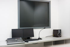 Recording equipment. Of a dialogue dubbing studio Royalty Free Stock Photography