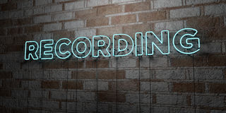 RECORDING - Glowing Neon Sign on stonework wall - 3D rendered royalty free stock illustration. Can be used for online banner ads and direct mailers Stock Photography