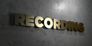 Recording - Gold sign mounted on glossy marble wall  - 3D rendered royalty free stock illustration Royalty Free Stock Images