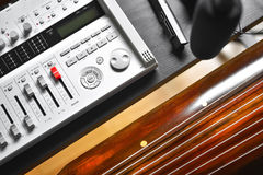 Recording Guqin music. Recoding Chinese beautiful sound from a Guqin string instrument Royalty Free Stock Images