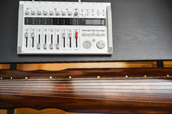Recording Guqin music. Recoding Chinese sound from a Guqin string instrument Stock Photography