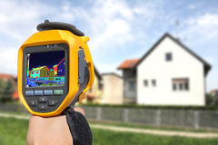 Recording Heat Loss at the House. With Infrared Thermal Camera Stock Photos