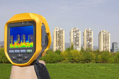 Recording Heat Loss at the Residential Building With Infrared Th Royalty Free Stock Photo