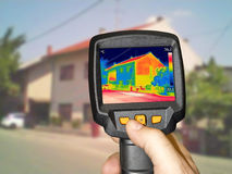 Recording House With Infrared Thermal Camera. Recording Heat Loss at the House With Infrared Thermal Camera Royalty Free Stock Photos