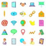 Recording icons set, cartoon style Stock Image