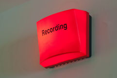 Recording Light. A lighted up recording warning light outside a studio Royalty Free Stock Photos