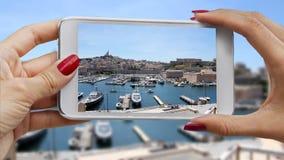 Recording panorama Marseille stock video footage
