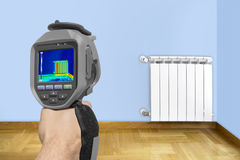 Recording Radiator with Thermal Camera Royalty Free Stock Images