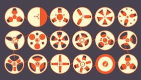 Recording Reels. Series of recording reels connected together Stock Image