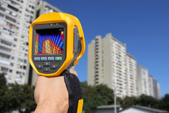 Recording Residential Buildings With Thermal Camera Royalty Free Stock Images