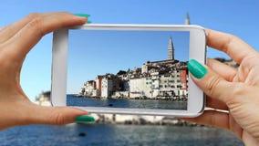 Recording Rovinj with cellphone stock video