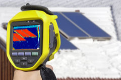 Recording Solar Panels with Thermal Camera Stock Photos