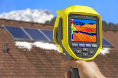 Recording Solar Panels with Thermal Camera Stock Image