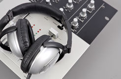 Recording Studio. Headphones And Mixer Royalty Free Stock Photography