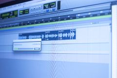 Recording studio audio controls. Recording studio audio computer editing mixing program sound controls for music and voice production royalty free stock photo