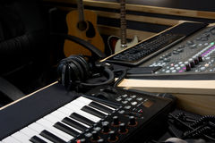 Recording studio with digital mixer and keyboard Stock Photo