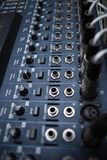 Recording studio equipment. Professional audio mixing console. Royalty Free Stock Images